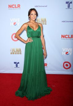 Dania Ramirez went bold in a green gown with a plunging v-neckline. Yes Dania!