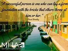 """A successful person in one who can lay a firm foundation with the bricks that others throw at him or her."" -David Brinkley"