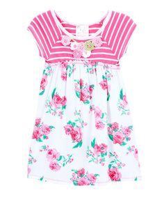 Pink & White Floral A-Line Dress - Toddler #zulily #zulilyfinds
