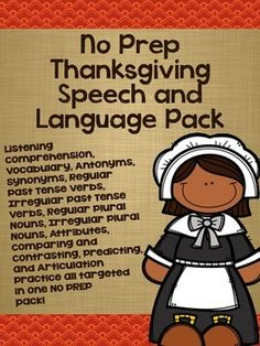 No prep Thanksgiving pack for speech and language!!!!