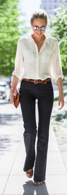 Street style | White blouse, pants, belt, heels, clutch. Elegant women fashion outfit clothing stylish apparel @roressclothes closet ideas