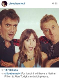Joss Whedon palooza! Two Firefly alums and a current Agents of S. H. E. I. L. D. star! Left to right--> Nathan Fillion, Chloe Bennett, Alan Tudyk.