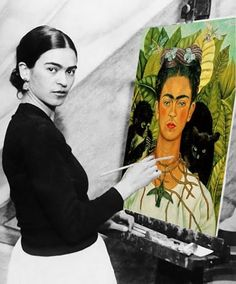 the artist Frida Kahlo with her painting 'Self-Portrait with Thorn Necklace and Hummingbird' (1940). via books, crafts, pretty things on tumblr