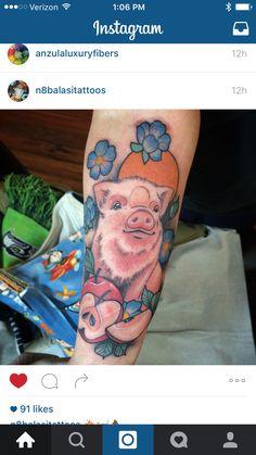 Pig tattoo Web Tattoo, Get A Tattoo, Sweet Tattoos, Girl Tattoos, Girl Power Tattoo, American Traditional, Symbolic Tattoos, Body Modifications, Skin Art