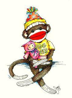 A mixed Bag Monkey See Monkey Do, Monkey Art, Barrel Of Monkeys, Sock Monkeys, Monkey Drawing, Monkey Illustration, Felt Monster, Softie Pattern, Sock Animals
