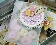 Cute Easter tag using die cut doily and adhered to glassine bag #Cricut inspiration