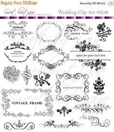 Wedding Flourish Clip Art Photoshop Brushes Instant