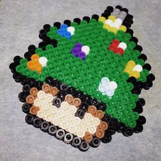 Christmas tree mushroom perler beads by la_di_freaking_da
