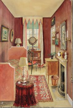 painted by Alexandre Serebriakoff, an interior illustrator whom painted many interiors for John Fowler and Nancy Lancaster in the 30s-50s.