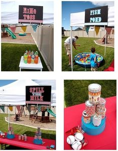 Carnival Party Games kid-parties (use cans for B&G carnival; temporary tattoo prizes (book related - characters...))