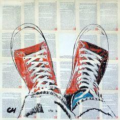 """Saatchi Art Artist Marat Cherny; Painting, """"The red sneakers ."""" #art"""