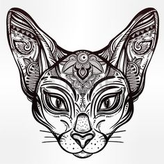 Vintage ornate cat head with tribal ornaments Ideal ethnic background tattoo art Egyptian Thai spiri Stock Vector