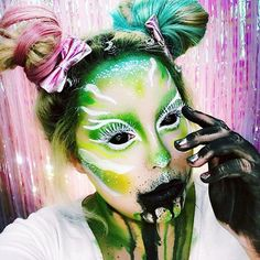 Greetings from Mars everyone! I decided to pull out all my greens for this look and create an #alien look for you guys! For this look I used @sugarpill #acidberry #buttercupcake #tako and #midori to do almost everything on this look! I went in with my @nyxcosmetics white liquid liner to create my detailed liner I then used @sigmabeauty #dontlabelme mascara to turn my lashes white! I love that mascara