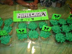so my son turned 5 and he wanted mine craft theme party so I thought how iam I getting a cake with mine craft which was a creeper couse as you guys can no they still don't have birthday theme for mine craft unless you order it on ebay or etsy so I decided to make my own cup cake toppers by buying a poster board and a sharpie I drew my own creeper and this is wat I came up with my own idea don't for get to pin it thanks