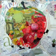 ---outline of fruit/filled in with pics of fast food----Apple - torn paper collage, painting by artist Kay Smith