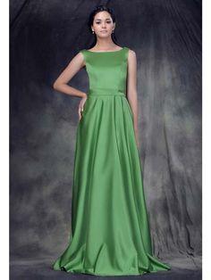 Elegante Abendkleider A-Linie Grün Satin mit Bateau-Ausschnitt