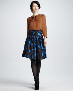 MARC by Marc Jacobs Evie Tie-Neck Top & Onyx Floral-Print Skirt - Neiman Marcus