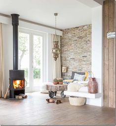 Trendy home decored living room fireplace wood stoves ideas Living Room With Fireplace, Home Living Room, Living Spaces, Trendy Home, Fireplace Design, My New Room, Family Room, Sweet Home, New Homes