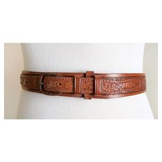 Vintage Tooled Leather Belt Texas Ranger by Tex Tan ❤ liked on Polyvore featuring home, home decor, vintage home accessories, leather home decor, floral home decor and vintage home decor