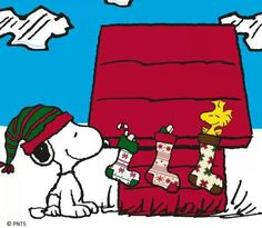 Snoopy with Christmas stockings