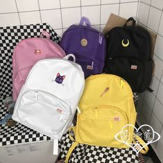 Japanese Harajuku Sailor Moon Series School Bag Large Capacity sold by wwlrf. Cute Leather Backpacks, Cute Backpacks, School Backpacks, Aesthetic Backpack, Aesthetic Bags, Bags For Teens, Girls Bags, School Bags For Girls, Backpack Purse