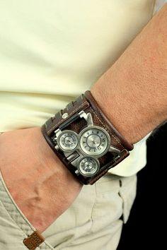 Men's wrist watch leather BandTuareg-7 Steampunk by dganin