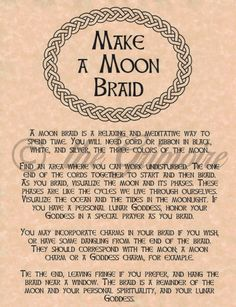 Make a Moon Braid page for Book of Shadows, Wiccan, Witch, or Pagan Spell Wiccan Witch, Magick Spells, Wicca Witchcraft, Witch Rituals, Witchcraft For Beginners, Wiccan Crafts, Eclectic Witch, Witch Spell, Modern Witch
