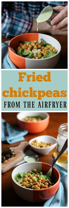 Make fried chickpeas in the airfryer. They're great as a salad topping or snack. Vegan & packed with protein. | cadryskitchen.com