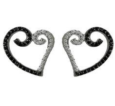Nicki Romantic Heart Stud Earrings | Cubic Zirconia | Hematite