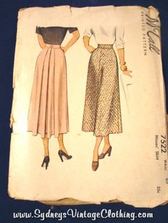 Vintage McCalls Long Skirt Sewing Pattern 755