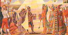 Este sitio web te dice sobre el primer encuentro entre Hernán Cortés y Moctezuma II.