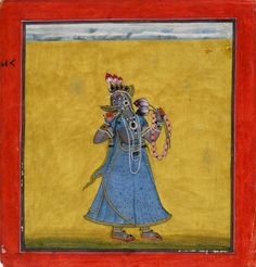 Goddess Bhadrakali - c. - Basohli - Old Indian Arts Durga Kali, Kali Hindu, Saraswati Goddess, Kali Goddess, Kali Mata, Kali Picture, Kali Statue, Mughal Paintings, Indian Paintings