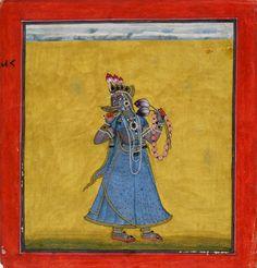 Goddess Bhadrakali - Basohli Painting  Circa 1660-70. For more high resoluton Indian artworks please visit http://oldindianarts.in