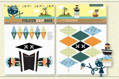 Kant&Klaar Knipboek Piratenfeest: 16 papieren knipvellen + 6 printbare knipvellen. Knutsel zelf een origineel kinderfeestje!