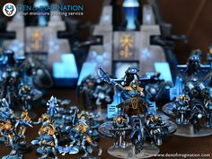 Sapphire Necron Army Warhammer Necrons, Warhammer Paint, Warhammer 40k Miniatures, Necron Army, Dark Eldar, Painting Services, Mini Games, Paint Schemes, Board Games
