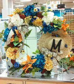 Spring wreath straw hat and hydrangeas for a custom order @ michaels craft #1035