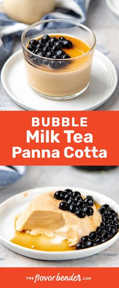This boba milk tea panna cotta is made with tea infused milk and is perfectly sweet. Plus it's topped with chewy tapioca pearls With just the right amount of gelatin, this panna cotta is very wobbly and creamy too! Easy No Bake Desserts, Best Dessert Recipes, Desert Recipes, Delicious Desserts, Custard Desserts, Strawberry Desserts, Sweets Recipes, Sweet Desserts
