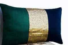 Beaded Throw Pillow Emerald green navy blue gold by AmoreBeaute