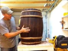 """DIY : Fake Wine / Whiskey Barrel This is a """"How to"""" video on making a decorative vintage barrel . great for weddings, western parties or even Pirate parties. Enjoy the video! Cowboy Birthday, Cowboy Party, Barrel Projects, Wood Projects, Wine Barrel Diy, Decoration Pirate, Western Theme, Western Bar, Pirate Halloween"""