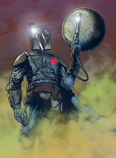 """Boba Fett, the bounty hunter"". Colored version. Pen + Ink + Digital Color. 2013. Fan art by Pato Berroeta."