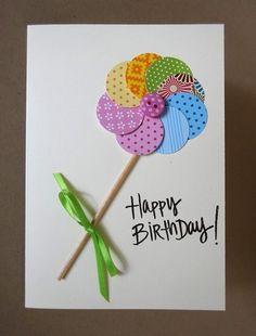 Homemade Birthday Cards, Kids Birthday Cards, Homemade Cards, Handmade Greetings, Greeting Cards Handmade, Happy Birthday Cards Handmade, Tarjetas Diy, Birthday Card Design, Button Cards