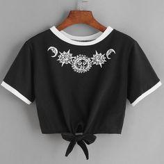 New Fashion Women T Shirt Summer Kawaii Embroidery Rose Aliens T-Shirts Harajuku Casual Tops Tees Female T shirt T-shirt Russia Cropped Tops, Cute Crop Tops, Casual T Shirts, Casual Outfits, Summer Outfits, Nice T Shirts, Casual Tops, Casual Dresses, Summer Dresses