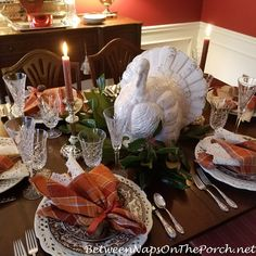 Thanksgiving Table, Pottery Barn Turkey Centerpiece Thanksgiving Table Settings, Thanksgiving 2020, Spode Woodland, Magnolia Leaves, Centerpieces, Table Decorations, Waterford Crystal, Close Up Pictures, Through The Window