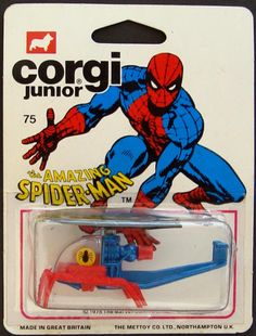Chuck's Stuff has this Amazing Spider-Man Corgi Junior/Juniors/Jr. helicopter for sale for $18. Copyright date 1976 Mettoy Co. LTD. Nice card, bubble has some mushing on ends and top, and leg mounts are split on inside front part, very common. More details/pics on site. #diecast #corgijr #spiderman