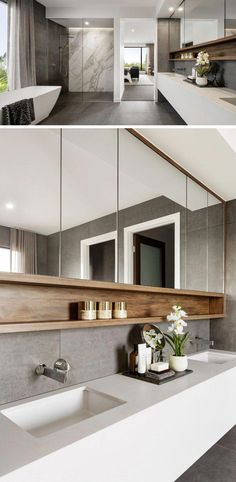 This modern ensuite bathroom features a large walk-in shower, a long white vanity with undermount sinks, and a freestanding bathtub. #ModernBathroom #EnsuiteBathroom #MasterBathroom #bathroominspo