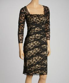 Look at this #zulilyfind! Black & Nude Lace Tiered Three-Quarter Sleeve Dress - Women by Marina #zulilyfinds