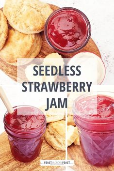 This Seedless Strawberry Jam is a quick, easy and no fuss recipe for making a fabulously smooth and sweet strawberry preserve. It's perfect served classically with scones, as a cake filling or simply slathered on toast! Strawberry Jelly Recipes, Strawberry Preserves, Strawberry Filling, Queen Of Puddings, Cake Fillings, English Food, Chutneys, Chutney