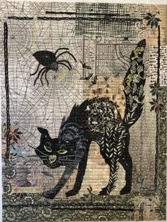 Black Cat Collage Pattern by Laura Heine! Pattern includes complete instructions and full sized pattern to complete the x collage quilt! It has a Halloween feel. Product Details: Technique: Collage Skill Level: Confident Beginner Quilt Size: x Cat Fabric, Fabric Art, Fabric Painting, Couture Pour Halloween, Chat Halloween, Halloween Ideas, Fall Halloween, Laura Heine, Cat Quilt Patterns