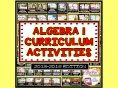 Now available to make searching for Algebra resources easier is my ALGEBRA ACCENTS Resource Catalog: 2015-2016 Edition!Download and save this clickable PDF to take you straight to my TpT store anytime you need something for your Algebra class. There are 125+ Algebra 1 resources in my store created during the 2015-2016 school year: Bell Ringers/Warm-Ups, Task Cards, Foldables for Interactive Notebooks, Coloring Activities, Mazes, Jumble Puzzles, Matching Activities, Cut & Paste Activities...