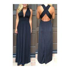 V Neck Cross Back Black Maxi Dress ($20) ❤ liked on Polyvore